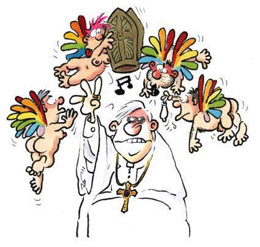 Karrikatur zum Papst-Protest